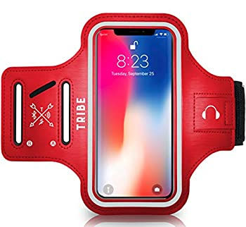 TRIBE Water Resistant Cell Phone Armband Case Running Holder for iPhone Pro Max Plus Mini SE  12/11/X/XS/XR/8/7/6/5  Galaxy S Ultra Plus Lite Edge Note  21/20/10/9/8/7/6/5  Adjustable Strap Pocket Key