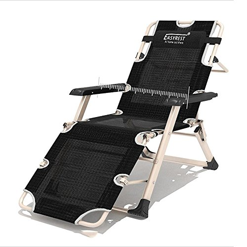 Xiaolin Lit Pliant Simple inclinable déjeuner Pause lit Bureau Fauteuil inclinable Chaise de Couchage (Couleur : Black)