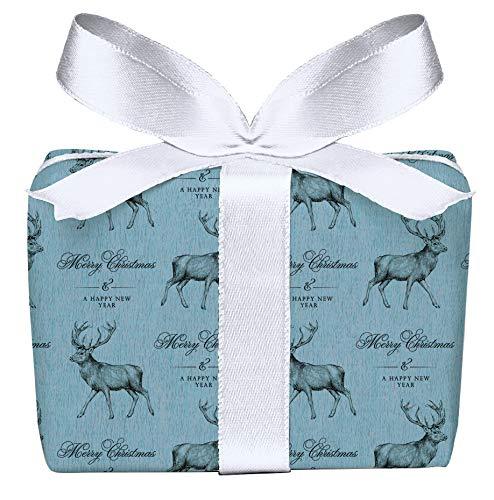 5er Set Weihnachts Geschenkpapier Bögen Hirsch blau Retro Kraftpapier Look Weihnachten, Adventszeit, Weihnachtspapier für Weihnachtsgeschenke, Adventskalender, Format 50 x 70 cm