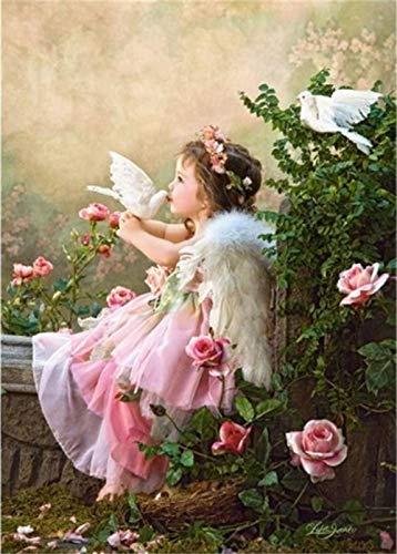 ZJZNB schilderij op nummers, knutselen, interieurdecoratie, digitale doek, oliekits engel peaix, 16 x 20 inch