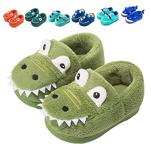 Fadezar Zapatillas De Estar por Casa para Niñas Niños Invierno Pantuflas Animales Antideslizantes Cálido Slippers 18 Verdes EU 25/26 (Tamaño de la etiqueta170)