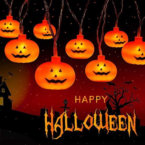 Arespark Luces de Cadena de Calabaza, Luces de Cadena LED de Halloween con Pilas, Luces para Decoración al Aire Libre, 2 Modos Luces Parpadeantes, 20 Luces de Calabaza