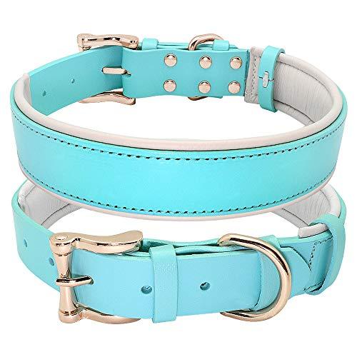 HFDDF Collar De Perro, para Perros Medianos Pitbull Caminar Entrenamiento Suave Acolchado De Cuero Real Cuero De Perro Cuero Genuino Cuello Grande Perro Collar De Mascota,Azul,46~57CM