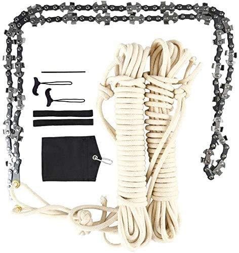 KOSIEJINN Sierra de cadena de cuerda manual,kit de corte de extremidades de 48 pulgadas de alto alcance,motosierra de supervivencia al aire libre, cuchillas en ambos lados motosierra de supervivencia
