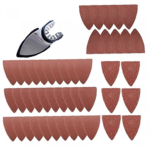 Finger Sanding Sheets Paper Pads Sand Disc Kit for Oscillating Multitools Saw Blades Parts Triangular Sandpaper Power Tool 51pcs