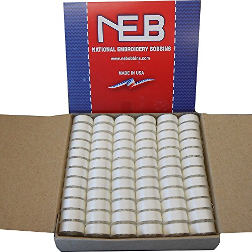 New NEB PREWOUND EMBROIDERY BOBBINS STYLE L WHITE QTY 144