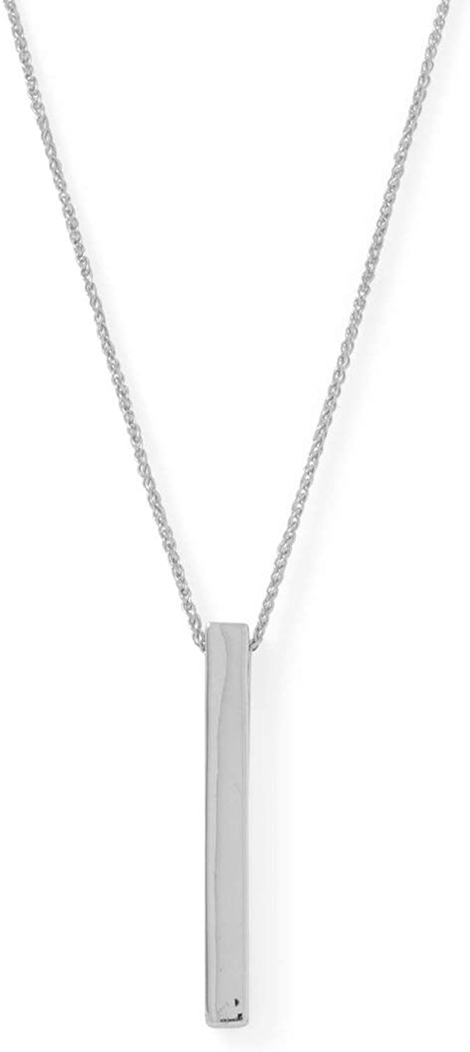 LND .925 Sterling Silver Four Sided Vertical Bar Womens Necklace