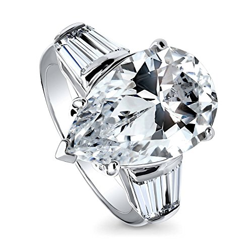 BERRICLE Rhodium Plated Sterling Silver Pear Cut Cubic Zirconia CZ Statement 3-Stone Anniversary Wedding Engagement Ring 8.8 CTW Size 7