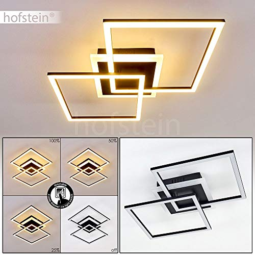 LED Deckenleuchte Lithgow, eckige Deckenlampe aus Metall in Schwarz-matt, 25 Watt, max. 2600 Lumen, Lichtfarbe 3000 Kelvin, dimmbar über den Lichtschalter ohne weiteres Zubehör