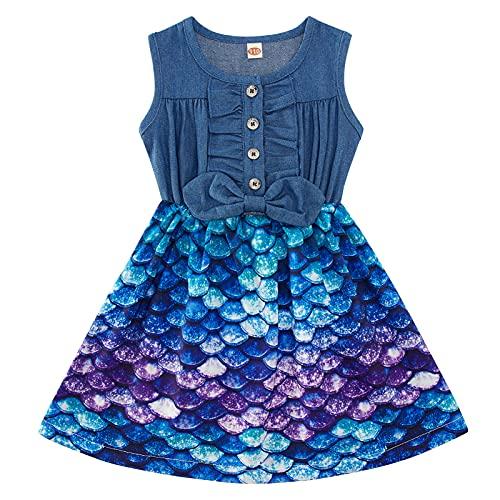 Cutemile mädchen Kleidung Kleid meerjungfrau jeanskleid rüschen elastische Taille lässige Brautkleider für Kinder Geburtstagsfeier Ostern jäten Tag Geschenke