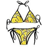 Bikini,Rubber Ducky Animals Wildlife,Women's Removable Strap Wrap Pad High Waist Bikini Set Swimsuit