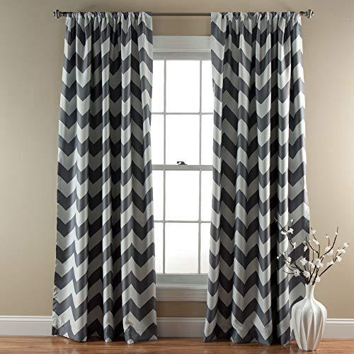 "Lush Decor, Gray Chevron Blackout Curtains Window Panel Pair | Room Darkening, Energy Efficient Drapes, 84"" x 52 Set 84"" x 52"""