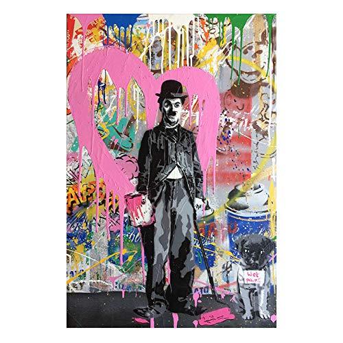 mmzki Lona del Coche Amor Graffiti Street Art Abstract Canvas Painting Carteles e Impresiones Cuadros Banksy Pop Wall Art Picture Decoración para el hogar No Frame