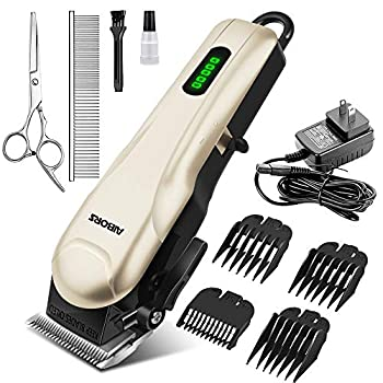 AIBORS Dog Clippers for Grooming for Thick Coats Heavy Duty Low Noise Rechargeable Cordless Pet Hair Grooming Clippers Professional Dog Grooming Kit Dog Trimmer Shaver for Small Large Dogs Cats Pets