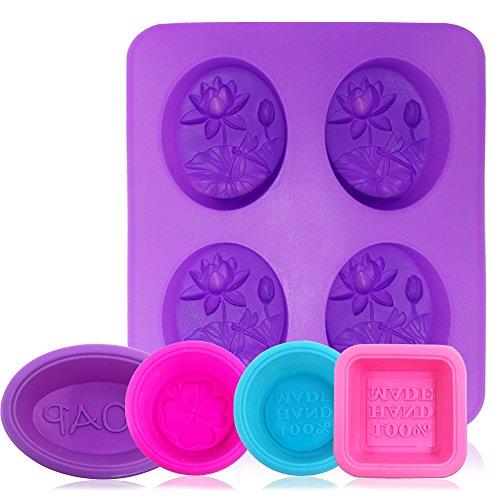 AFUNTA - Stampo in silicone per sapone, 5 pezzi / 8 cavità, antiaderente, per cupcake, muffin, forma quadrata, rotonda, ovale