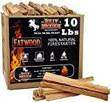 Billy Buckskin Co. 10 lb. Fatwood Fire Starter Sticks | Easy & Safe Fire Starter | Start a Fire with just 2 Sticks | Works in Any Weather Conditions | 10 lb. Box
