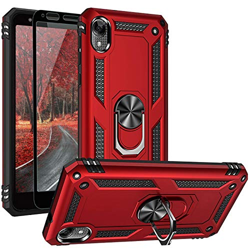 TJS Phone Case Compatible with Motorola Moto E6, with [Full Coverage Tempered Glass Screen Protector] [Impact Resistant][Defender][Metal...