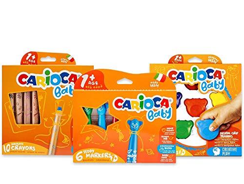 Carioca Set Baby 1+ | Set Colori con Pennarelli Super Lavabili, Pastelli a Cera Colorati e Matitoni per Bambini dai 12 Mesi, 22 Pezzi