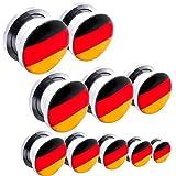 Edelstahl Flesh Tunnel Expander Dehner Plug Piercing Taper Ohr Fanartikel Deutschland Germany Fahne Flagge Fußball WM EM, Farbe:Alle Größen 1.6-14mm