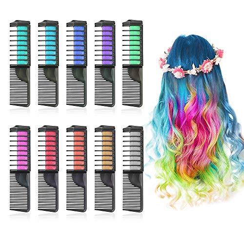 Lictin Hair Chalk Dye Combs - Hair Chalk for Kids 10 Colors Temporary Hair Colour Chalk Comb Chalk Hair Dye for Girls Halloween and Christmas DIY, Cosplay Party