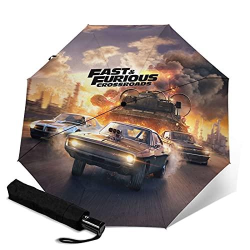 Paraguas automático rápido y furioso triple plegable impermeable y protector solar, resistente y duradero, paraguas de viaje plegable antiultravioleta, se puede abrir y cerrar automáticamente