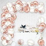 Rorchio Arche Ballon Rose Gold, 123 PCS Arche Ballon Anniversaire Fille, Kit Guirlande Ballon Or Rose Blanc, Décoration pour EVJF mariage fête anniversaire soirée baptême
