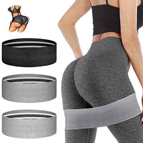YXwin Exercise Resistance Bands Hip Booty Bands Stretch Workout Bands Cotton Resistance Band for Legs and Butt Body, Yoga Pilates Muscle Training (3 Pack)