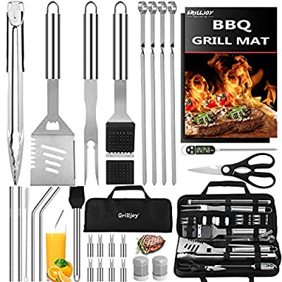 grilljoy 31PC Heavy Duty BBQ Grilling Accessories Grill Tools Set - Stainless Steel Grilling Kit with Storage Bag for Camping, Tailgating - Perfect Barbecue Utensil Gift for Men Women