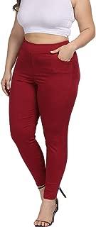 Allegrace Plus Size Women Skinny Pants Stretch Long,Tummy Control Slim Skinny Leggings with Pockets