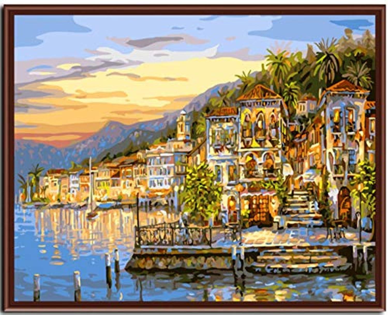 Superlucky Seascape Sonnenuntergang Wand Malen Bild Malen Nach Zahlen Zahlen Zahlen DIY Digital Leinwand Ölgemälde Wohnkultur Für Wohnzimmer Mit Rahmen 40x50cm B07J246J9L | Up-to-date Styling  10e1a8