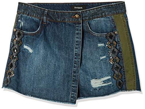 Desigual Damen Skirt Cassidy Strickrock, Denim Medium Wash, 32 DE