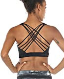 icyzone Sports Bras for Women - Activewear Strappy Padded Workout Yoga Tops Bra (S, Black)