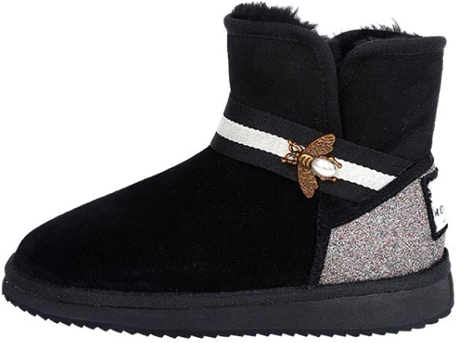 Women's Boots Suede Winter Martin Boots Winter Plush Warm Ankle Boots Fashion Platform Combat High-top Casual shoes Black Brown (color   A, Size   38)