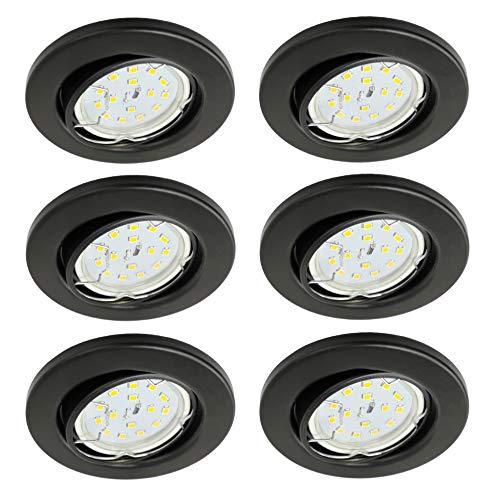 Trango 6er Pack ultra flache LED Einbaustrahler TG6729-065MOSD in matt schwarz rund inkl. 6x dimmbarem LED Modul in 3 Stufen dimmbar nur 30mm Einbautiefe Deckenleuchte Einbauspots