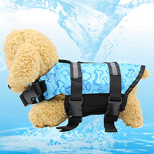 ZZYXiao Chaleco salvavidas de alta visibilidad para perros pequeños para nadar, flotabilidad superior, 0, Azul-XL