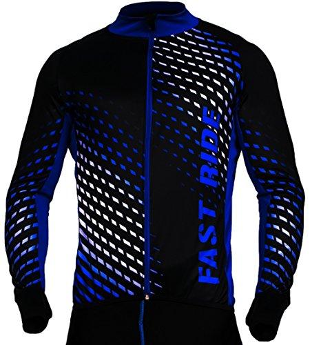 STANTEKS Radtrikot Trikott Langarm Fahrradtrikot Fahrradshirt Fahrradbekleidung Herren Damen Unisex Fahrrad Radsport Thermo Atmungsaktiv Jersey Reißverschluss Reflektoren SR0032 (Schwarz-blau, XL)