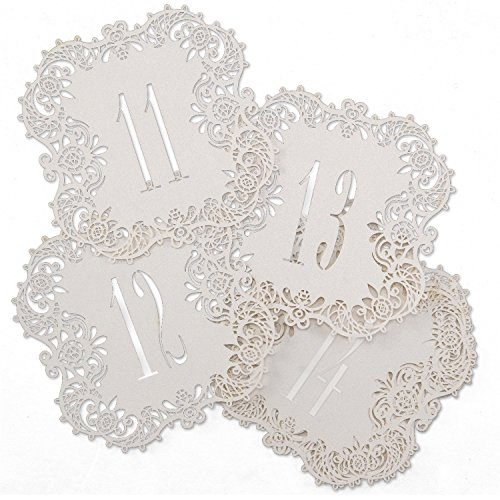 Hortense B. Hewitt 30853 White Shimmer Laser Cut Table Number Cards, Numbers 11 to 20