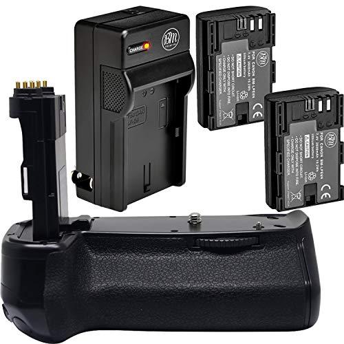 Battery Grip Kit for Canon EOS 7D Mark II Digital SLR Camera Includes Qty 2 BM Premium LP-E6, LP-E6N Batteries + Battery Charger + Replacement BG-E16 Battery Grip