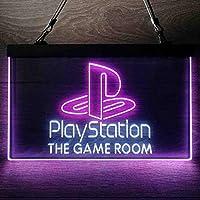 Playstation Game Room Kid パーソナライズされたマイホームバーの装飾 Man Cave LED看板 ネオンサイン バーライト 電飾 ビールバー 広告用標識 白色 + 紫色 W60cm x H40cm