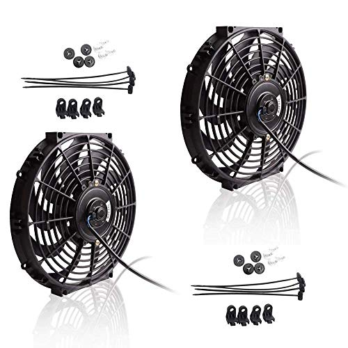 Upgr8 Universal High Performance 12V Slim Electric Cooling Radiator Fan With Fan Mounting Kit (12 Inch Black, 2 Pack)