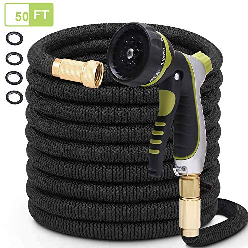 PLSDOIT Flexible and Expandable Garden Hose with 8 Function Nozzle No Kink Flexi bility Extra Strength with 3/4 Inch Solid Brass Fittings & Double Latex Core Rot Crack Leak Resistant
