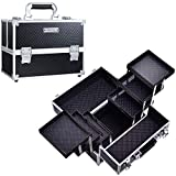 Frenessa Makeup Train Case 12 inch Large Portable Cosmetic Case - 6 Tier Trays Professiona...