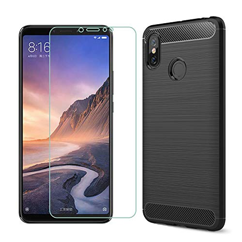 MYLBOO Funda Xiaomi Mi MAX 3 con Protector de Pantalla, [2 en 1] Funda TPU de Silicona Suave y Delgada + [9H dureza] Protector de Pantalla de Vidrio Templado para Xiaomi Mi MAX 3 (Negro)