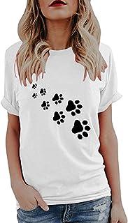 TIFIY Magliette per Le Donne, Estate Carino Stampa Top Manica Corta T-Shirt Camicetta Magliette Donna Elegante