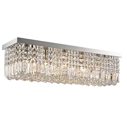 HOMCOM Lámpara de Techo de Cristal K9 5 Luces MAX. 40W para Dormitorio Sala de Estar Comedor Moderna y Elegante 80x25x23 cm Plata