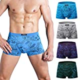 wirarpa Men's Underwear 4 Pack Stretch Modal Microfiber Trunks Soft Waistband Short Leg, X-Large 1401-4p-print Design