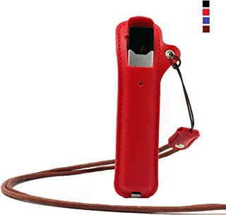 OrangeDance Upgraded Lanyard Case for Juul,Anti-Lost Detachable Nylon Necklace Strap for Outdoors,Leather Protective Cover with Dust Cap(Red)