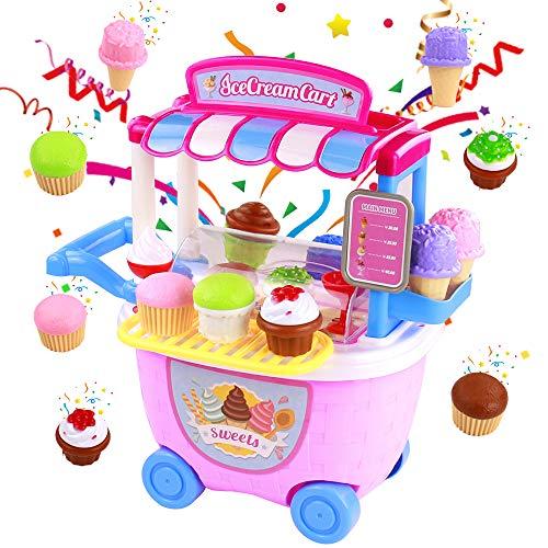 jerryvon Carrito Helados Carro Comida Juguete Utensilios de Cocina Juguete Plástico Helado Alimentos Juego de Imaginación Juguetes Educativos Regalo para Niños 2 3 4 Años