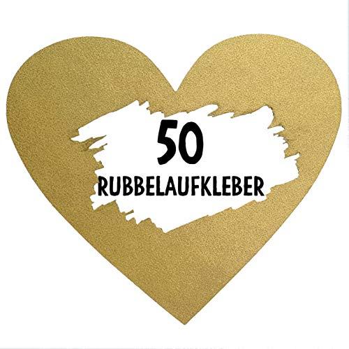 50 Rubbel Etiketten Herzen Gold zum Basteln von Rubbelkarten Rubbellose Überraschungen Gutscheinkarten Einladungen Hochzeit oder Verkündung von Schwangerschaft