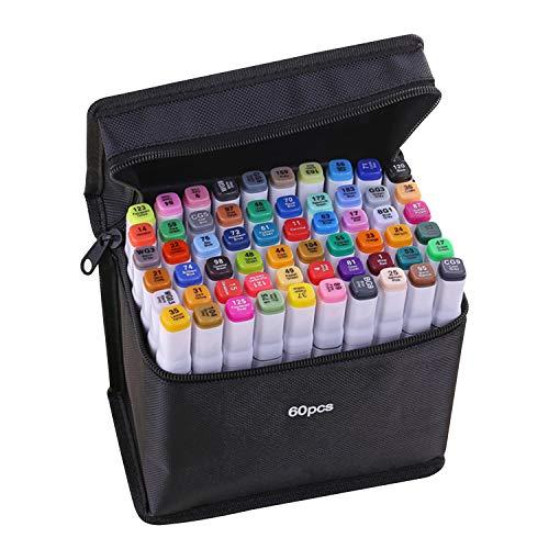 mewmewcat 40 Cores Marcadores Marcador de Ponta Dupla Caneta Esboçando Escrita Pintura Marcador de Sublinhação Artista Desenho Marcadores de Arte de Duas Pontas com Saco de Armazenamento Zip